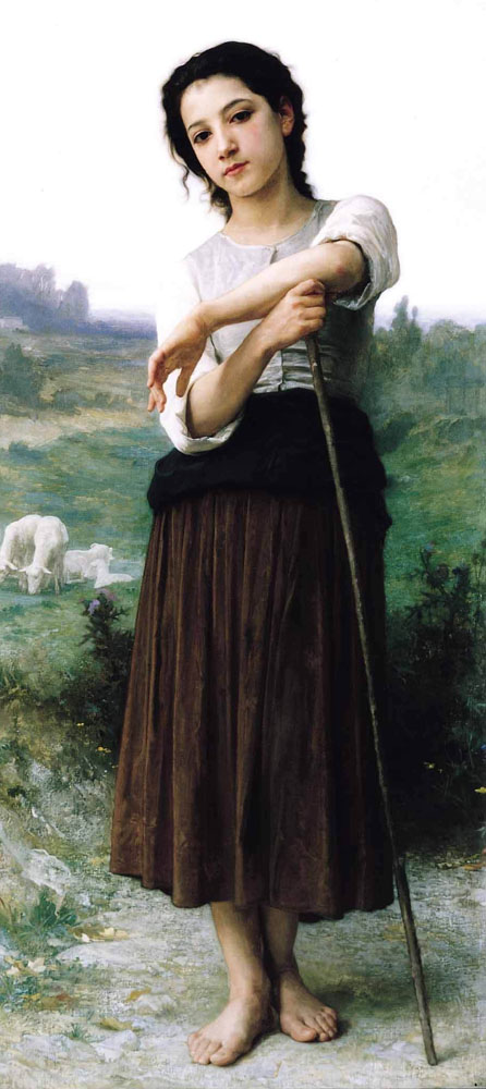 painting by William-Adolphe Bouguereau: Young Shepherdess Standing