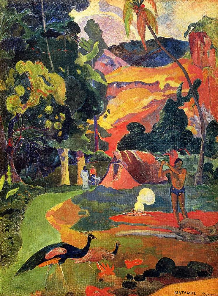 painting by Paul Gauguin: Landscape with Peacocks (1892)