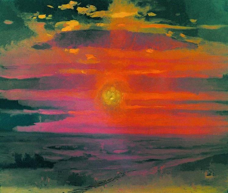 painting by Arkhip Kuindzhi: Sunset in the Winter. A Coast of the Sea (c.1890)
