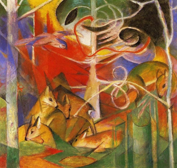 painting by Franz Marc: Deer in the Forest (1913)