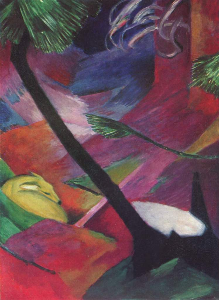 painting by Franz Marc: Deer in the Forest II (1912)