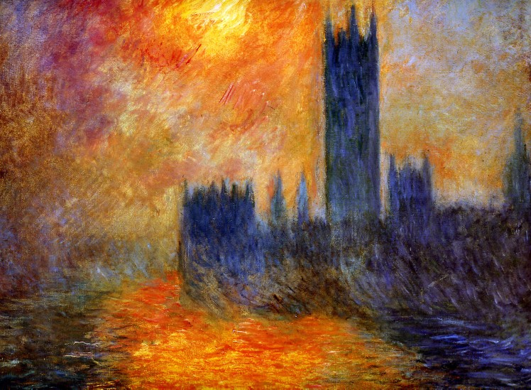 painting by Claude Monet: House of Parliament Sun (1903)