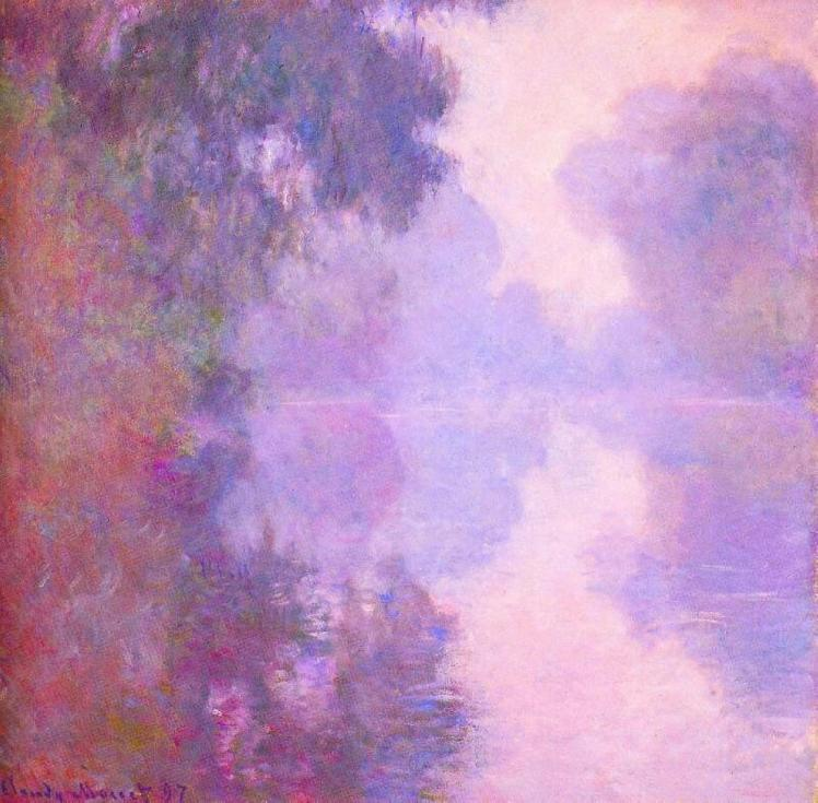 painting by Claude Monet: Misty Morning on the Seine (1897)