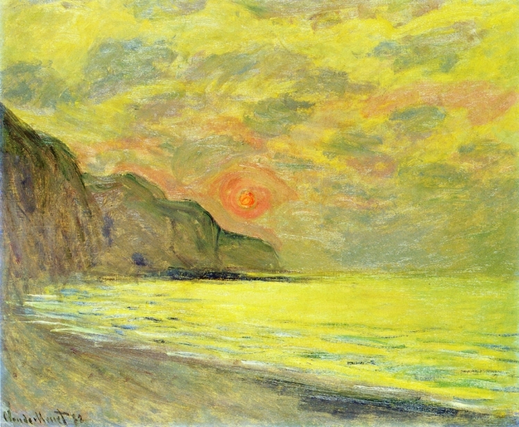 painting by Claude Monet: Sunset, Foggy Weather, Pourville (1882)