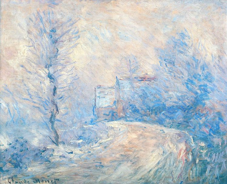 painting by Claude Monet: The Entrance to Giverny under the Snow (1885)