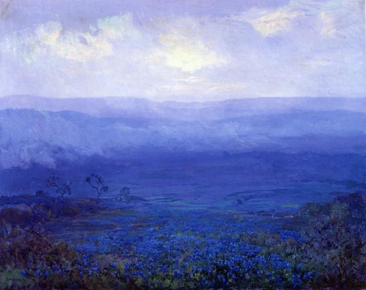 painting by Robert Julian Onderdonk: Bluebonnets in Texas (1915)