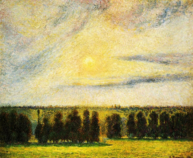 painting by Camille Pissarro: Sunset at Eragny (1890)