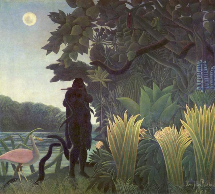 painting by Henri Rousseau: The Snake Charmer (1907)