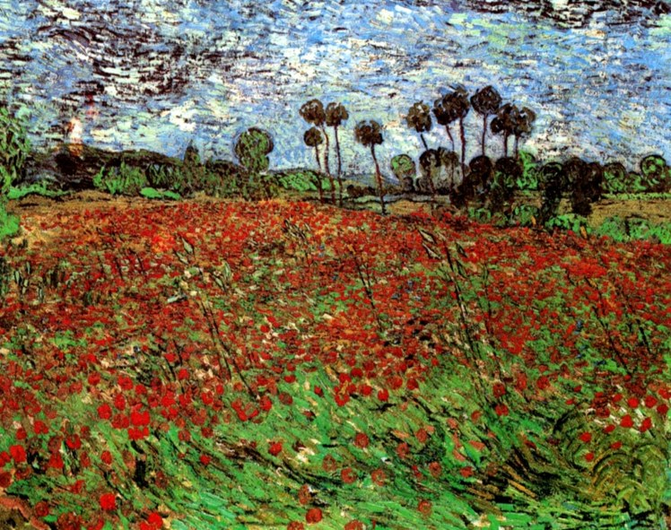 painting by Vincent van Gogh: Field with Poppies (1890)