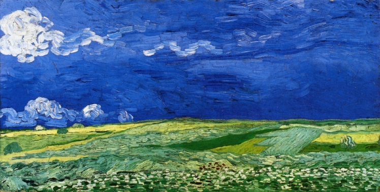 painting by Vincent van Gogh: Wheatfields under Thunderclouds (1890)
